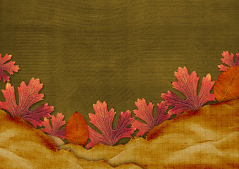 Old grunge card on the abstract background with autumn leaves
