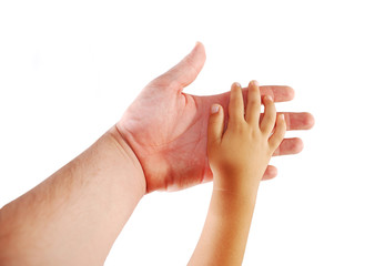 Parent and child, hands together on white background