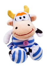 Happy cow toy isolated on the white background