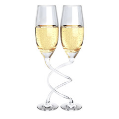 two twisted champagne glass