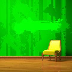 Yellow chair in green minimalist interior