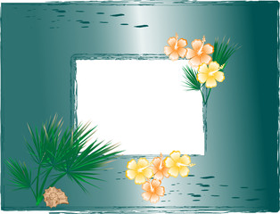 Vector photo frame with hibiscus