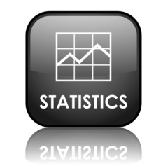 """Square vector """"STATISTICS"""" button with reflection (black)"""