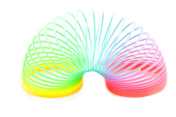 rainbow plastic spring toy isolated on white background
