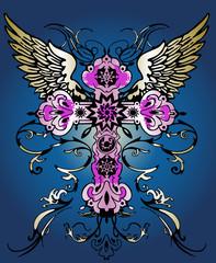 fancy flying cross tattoo