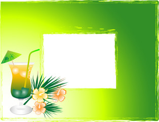 Vector photo frame with the drink