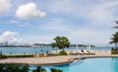 Swimming pool on a sunny day.Pattaya city in Thailand