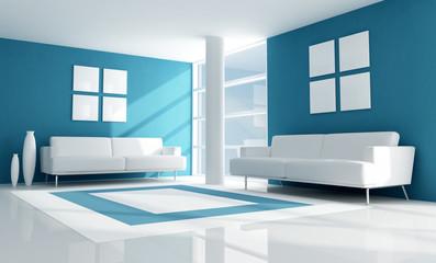 blue and white modern living room