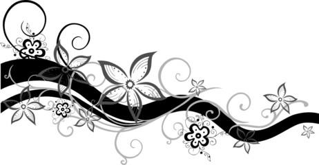 Ranke, Schnörkel, floral, ornamental mit Blumen
