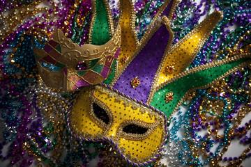 Wall Mural - Mardi Gras Mask and Beads