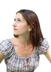 Potrait of a young beautiful brunette women