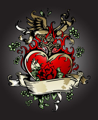 golden rose, heart with wing tattoo emblem