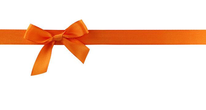 Orange gift bow on white background