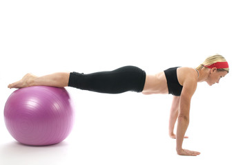 illustration pose middle age woman push up bars and fitness core