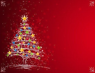christmas tree  on the red background, vector illustration