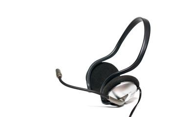 Headphones set isolated on white background.