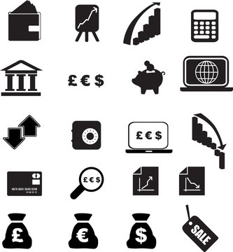 black money silhouette set illustration  on white