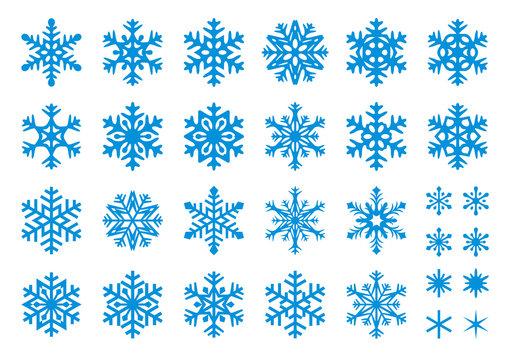 30 Vector Snowflakes Set