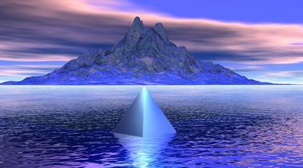mountain and pyramid