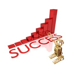 success graph with business robot