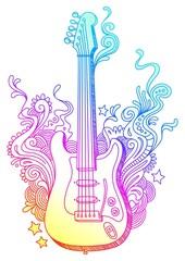 Line-art doodle guitar