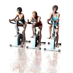 Fahrrad fahrende Frauen