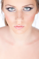 make up on woman's eyes