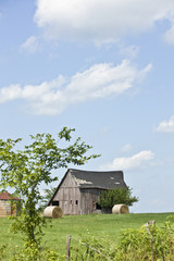 An old wooden barn in the countryside