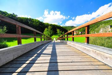 A modern wooden bridge