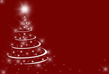Weihnachtsbaum aus Sternen mit rotem Hintergrund