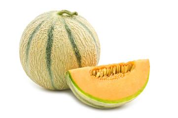 orange cantaloupe melon on white background .
