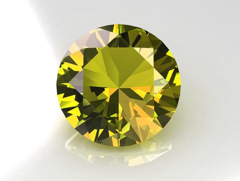 3D Round yellow sapphire gemstone