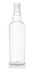 Vector illustration of a glass bottle with Russian vodka