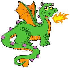 Cute dragon with long tail