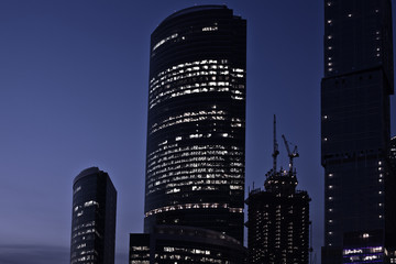 Late at night in new business center, Moscow