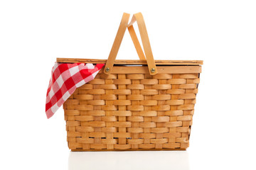 Wicker Picnic Basket with Gingham Cloth