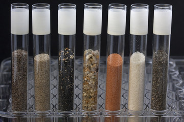 sand in laboratory testing tubes
