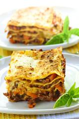 Plates of lasagna