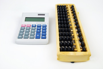 Chinese Abacus and modern calculator