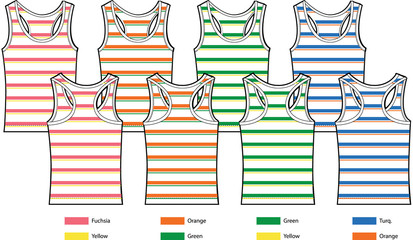 stripe pattern tank top vest