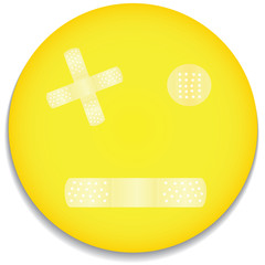 vector smiley with several bandages
