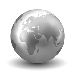 Vector Shiny Silver Earth Globe