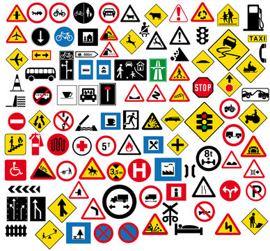 Different type of road signage