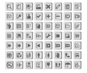 Squarish gray color icon designs