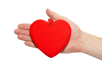 Big valentine heart in a hand.