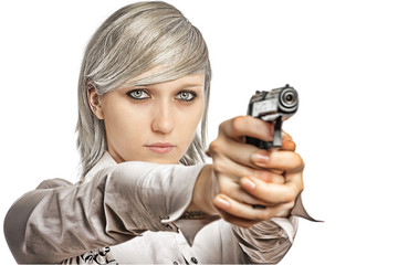 women with handgun
