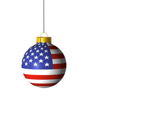 christmas ball with US flag