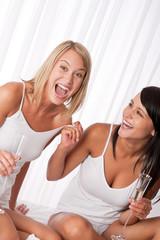 Two girlfriens having fun together
