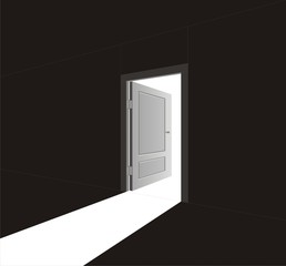 The vector image of an open door and light going through it