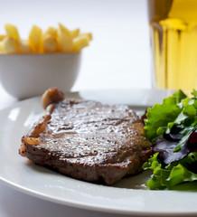 Steak, Salad, Chips and Beer